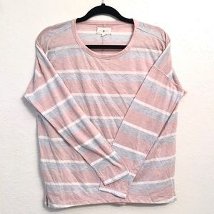 Lou & Grey Pink and Gray Striped Long Sleeve Top